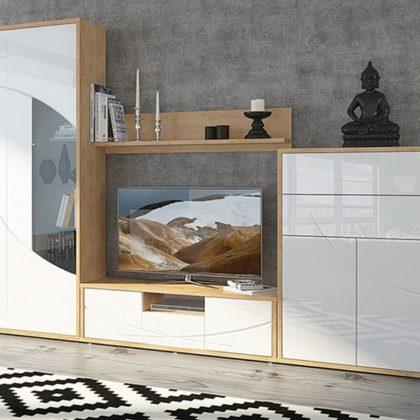 Модульная стенка Мадейра (Дуб небраска-Белый глянец)