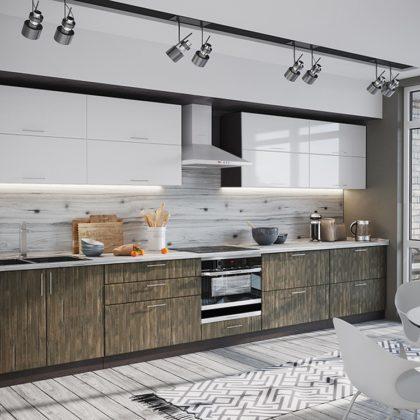 """Модульная кухня """"Норден"""" (белый глянец/старое дерево)"""