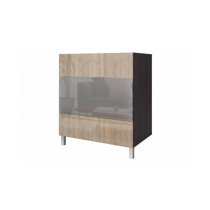 Шкаф высокий со стеклом дуб сонома/дуб феррара