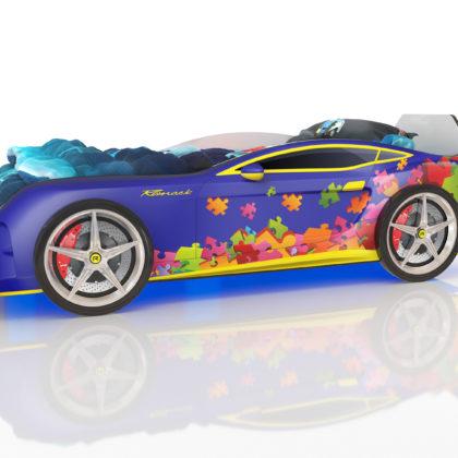 Кровать-машинка с подсветкой Romack Kiddy (синий пазл)4