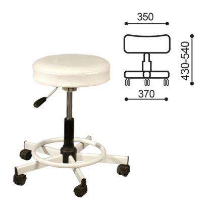 Кресло РС12, без спинки, без подлокотников, кожзам, белое