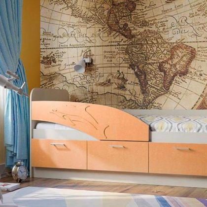 Кровать детская Дельфин дуб линберг-абрикос