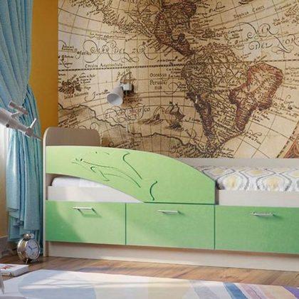 Кровать детская Дельфин дуб линберг-салатовый