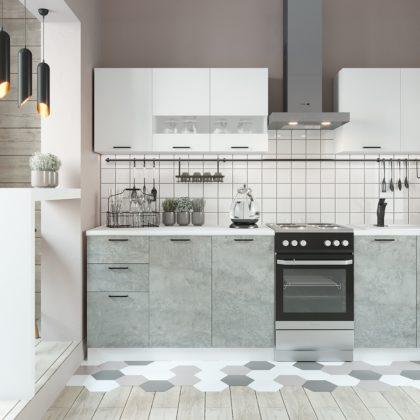 "Кухонный гарнитур ""Дуся"" 2,0 м (белый глянец/цемент)"